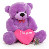 4ft DeeDee Cuddles Purple Teddy Bear with I Love You Heart