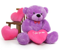 Oversized  Purple Teddy Bear with I Love You Mom Heart 48in