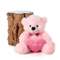 Lady L Cuddles Pink Teddy Bear with I Love You Heart 24in