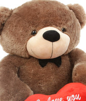 48in Sunny L Cuddles Mocha Teddy Bear with I Love You Heart