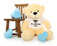 3ft Vanilla Cream Big Teddy Bear with Graduation T-shirt