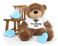 4ft Life Size Mocha Teddy Bear Sunny Cuddles Personalized Graduation Teddy Bear