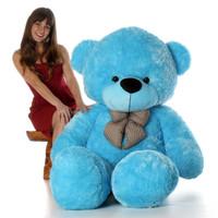 6ft Life Size Teddy Bear Happy Cuddles soft beautiful light blue fur