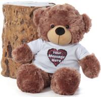 Mocha 24in Sunny Cuddles Personalized Teddy Bear with Heart Truffle Tshirt