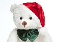 Adorable 32 Inch White Teddy Bear in Sitting Position with Christmas Hat