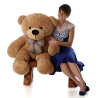 4ft Life Size Teddy Bear Shaggy Cuddles soft amber brown fur
