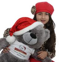 2ft Silver Teddy Bear Diamond Shags Christmas Teddy