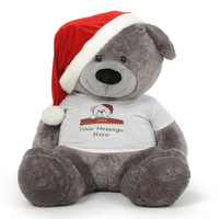 Personalized Giant Christmas Teddy Bear in Red Santa Hat 60in Diamond Shags
