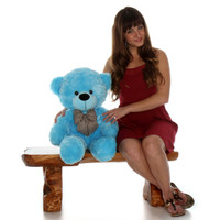 30in Most adorable gift Happy Cuddles sky blue teddy bear