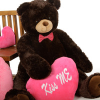 Baby Tubs Chocolate Teddy Bear 42in with Hot Pink Kiss Me Heart