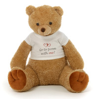 Big 2½ ft Personalized 'Go to Prom with me?' Teddy Bear Amber Brown Honey Tubs
