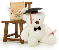 30in Huge White Sprinkle Chubs Teddy Bear with Graduation Cap & Diploma