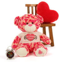 """2½ ft Personalized Sassy Big Love Valentine's Day Teddy Bear Heart pillow & clock not included."""