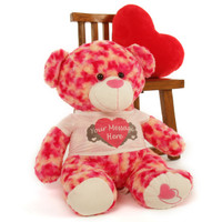 """2½ ft Personalized Pink & Cream Valentine's Day Teddy Bear, Sassy Big Love Heart Pillow not included."""