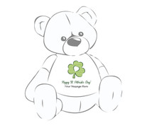 "Personalized ""Happy St. Patrick's Day"" Clover Giant Teddy Bear Shirt"