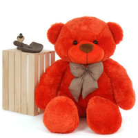 4 foot unbelievably huggable Life Size Teddy Bear Beautiful Orange Red Unique Lovey Cuddles
