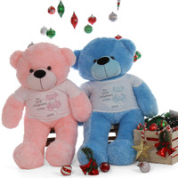 Pink and Blue Cuddles 'My First Christmas' holiday soft Bear Life Size 48in