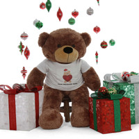 4ft best life size Personalized shirt huggable Christmas Teddy Bear Mocha Sunny Cuddles