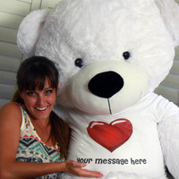 72in Giant life size Personalized Teddy Bear Snow White Cuddles Red Heart Shirt gift