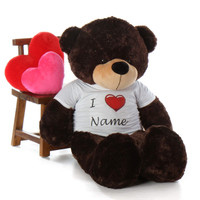 Life Size Valentine's 60in Personalized  Day Teddy Bear Brownie Cuddles dark brown fur