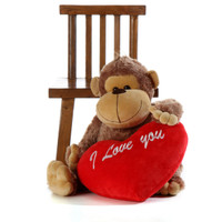 36in Life Size Silly Sammy Monkey  with red 'I love you' plush heart pillow