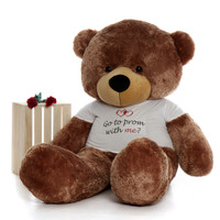 Go to prom with me Personalized 6ft Mocha Brown Teddy Bear Sunny Cuddles