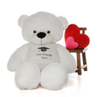 6 Foot Giant White Teddy Bear with Graduation T-shirt