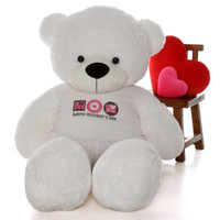 "6ft White Coco Cuddles teddy bear in ""Happy Mother's Day"" shirt"