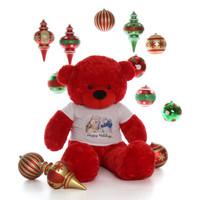 5ft Life Size Red Teddy Bear Bitsy Cuddles Happy Holidays