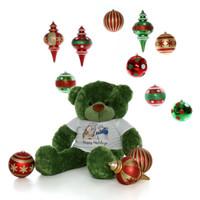 48in Lucky Cuddles Green Giant Teddy Bear Snowman Shirt Kisses