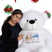 48in Happy New Year Coco Cuddles White Giant Teddy Bear