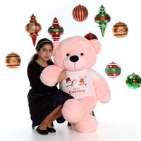 4ft Lady Cuddles Pink Merry Christmas Giant Teddy Bear