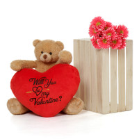 2ft Honey Tubs Valentine's Day Amber Brown Bear with Red Heart Pillow