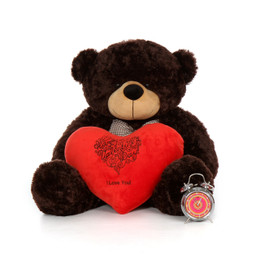 3ft Giant Teddy Bear Brwonie Cuddles Dark Brown with Heart Pillow
