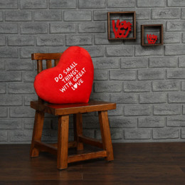 "Personalized Red Pillow Heart with ""Do Small Things with Great Love"" Message"