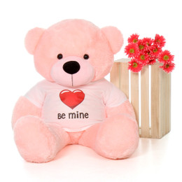 4ft Pink Lady Cuddles Giant Teddy with a Be Mine Valentine's Day T-Shirt
