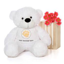48in Coco Cuddles White Giant Teddy Bear in Valentine's Day Paw Stamp T-Shirt