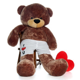 6 Foot Mocha Brown Teddy Bear with I Love You Heart - Cool Gift Idea