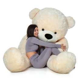 Biggest Giant Teddy Bear! 7 Foot Tall Vanilla Cream Cozy Cuddles