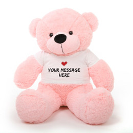 Lady Cuddles Huggable Pink Personalized Teddy Bear with Heart Stamp T-shirt 38in
