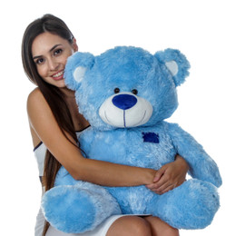 Blue Big Teddy Bear in Sitting Position by Giant Teddy Brand