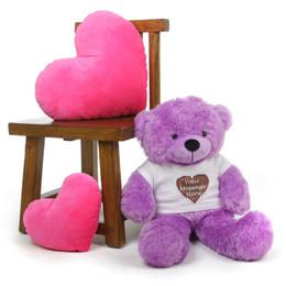 Lavender Purple 30in DeeDee Cuddles Personalized Teddy Bear with Heart Truffle T-shirt