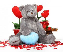Jumbo Sugar Heart Tubs I LOVE YOU Blue Heart Silver Grey Teddy Bear 52in