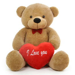 Shaggy L Cuddles Amber Teddy Bear with I Love You Heart 48in