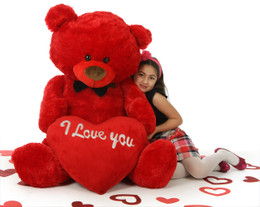 """Huge Red Valentine's Day Teddy Bear with """"I Love You"""" Heart Randy Shags is 52in"""