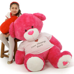 Personalized Enormous 4ft hot pink Cha Cha Big Love will make your sweetie say WOW!