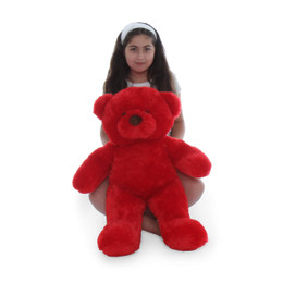 Riley Chubs Extra Plump and Adorable Bright Red Teddy Bear 30in