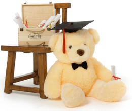 2.5ft Huge Cream Smiley Chubs Teddy Bear with Graduation Cap & Diploma