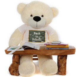 4 foot Cozy Cream Cuddles Back to School Teddy Bear