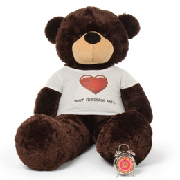 Life size extra huggable Personalized Dark Brown Teddy Bear Brownie Cuddles in Red Heart Shirt 60in